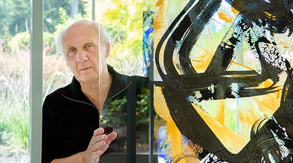 Herman van Veen exposeert Transparanten H, tekens in spiegelbeeld